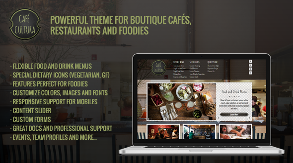 Features provided by the quality WordPress restaurant theme CaféCultura