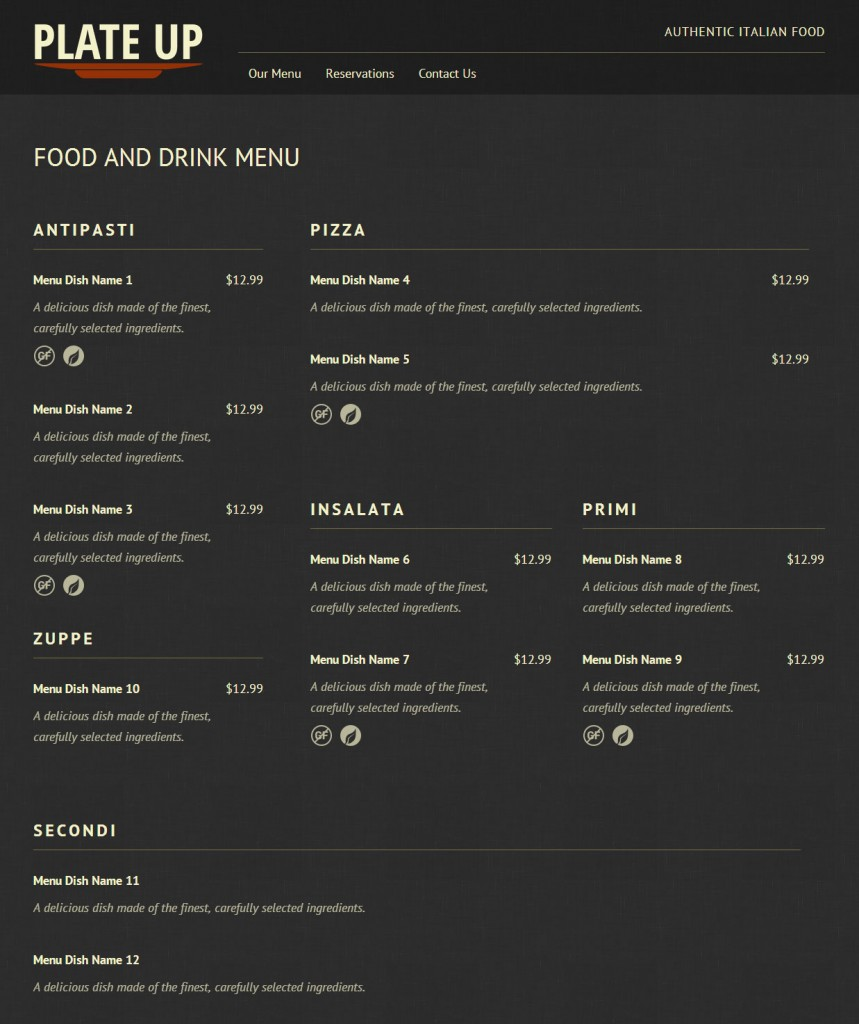 Complex layout example for Food and Drink Menu