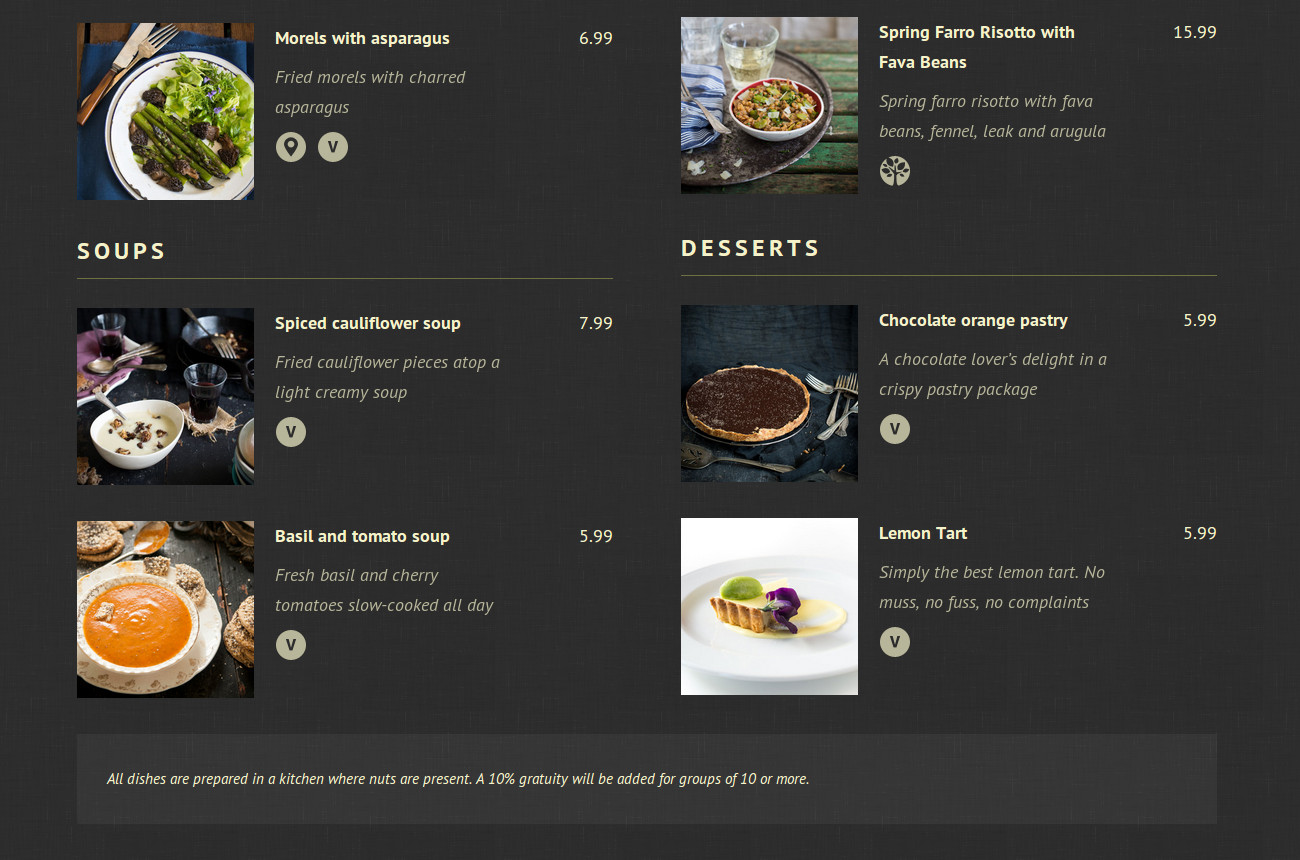 give each section of your restaurant menu a unique style theme of
