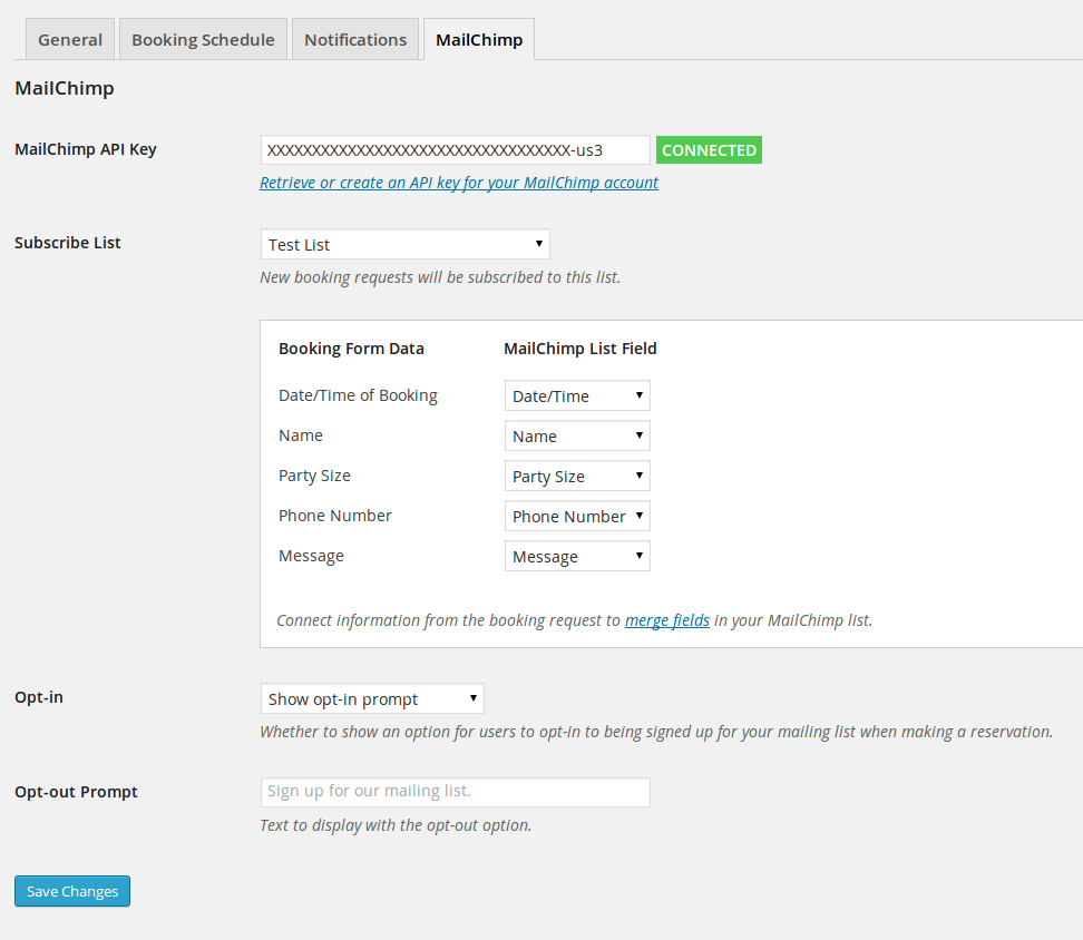 The settings page for Restaurant Reservation's MailChimp addon.