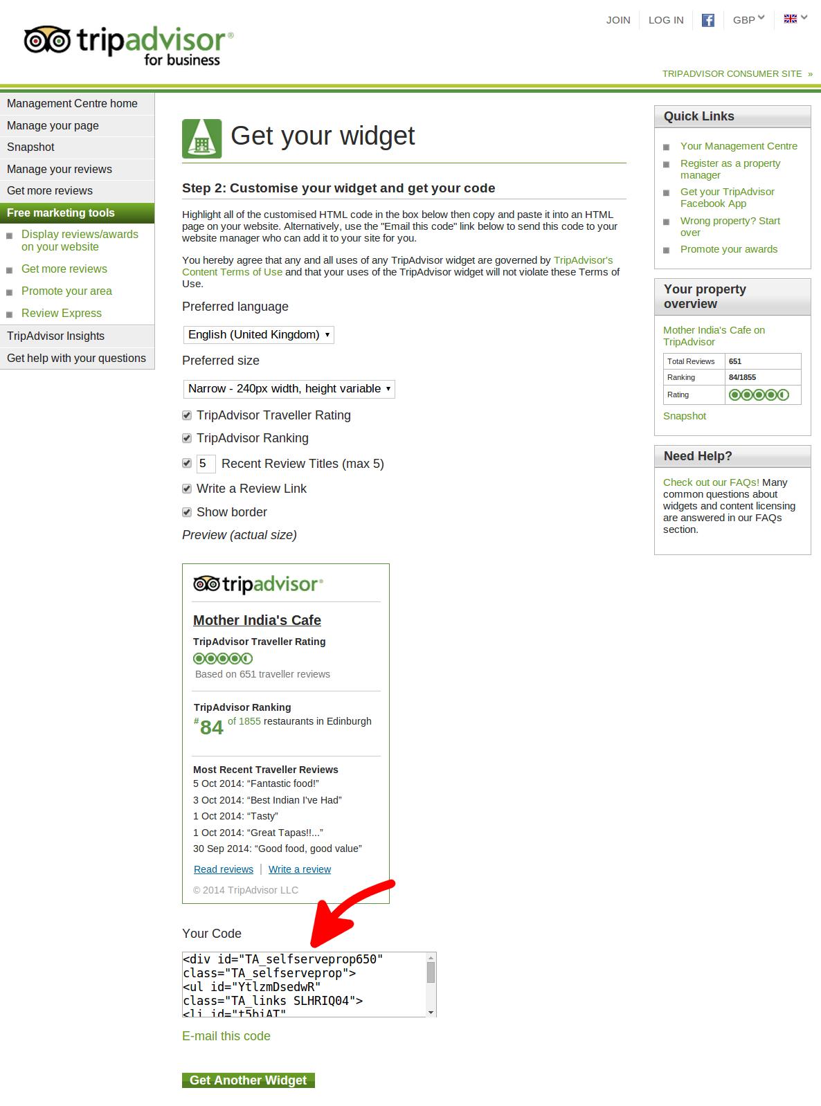 how to add tripadvisor widget to wordpress
