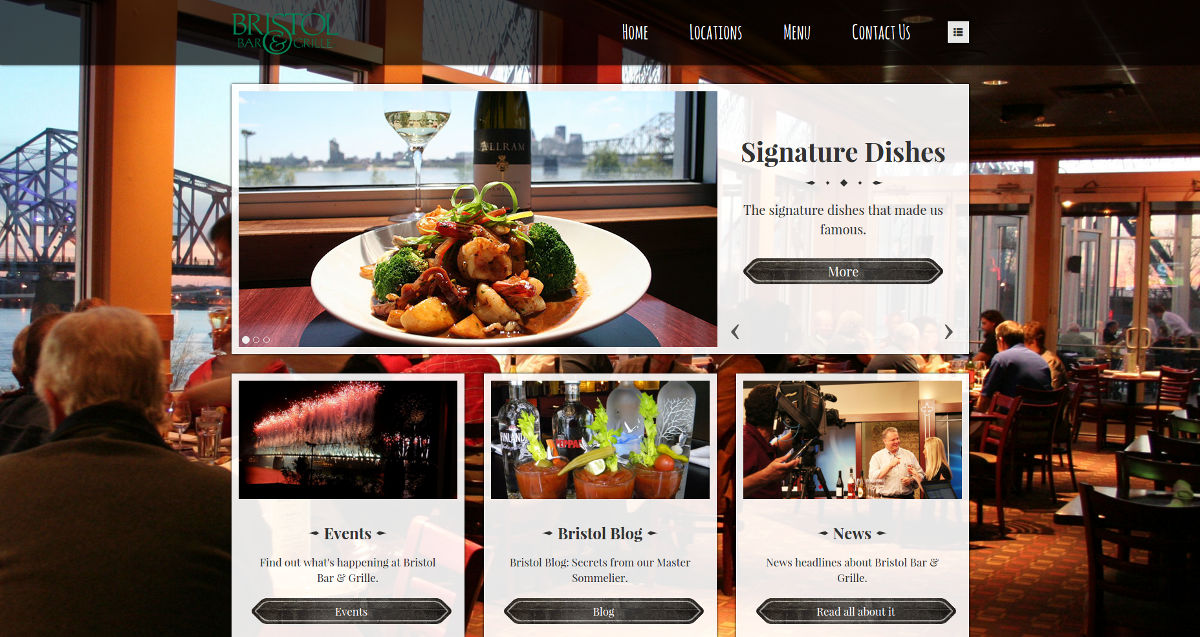 The website for Bristol Bar & Grille in Kentucky